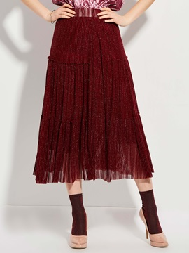 Mid-Waist Ankle-Length Mottled Pleated Skirt