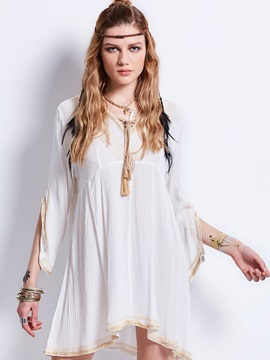 V-Neck Embroidery Flare Sleeves Mid-Length Blouse