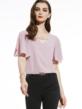 V-Neck Plain Chiffon T-Shirt