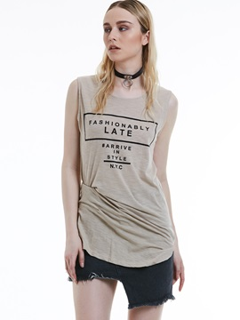 Mid-Length Sleeveless Letter Print T-Shirt