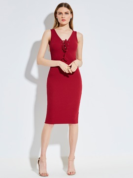 V-Neck Sleeveless Lace-Up Women's Bodycon Dress