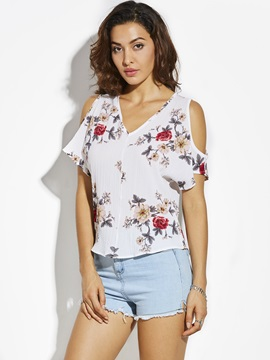 V-Neck Cold Shoulder Floral T-Shirt