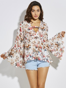 Loose Floral Bell Sleeve Blouse