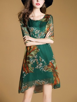Hot Floral Imprint Half Sleeve Short Day Dress