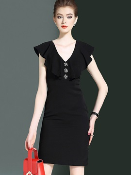 Fashion Solid Color Short Sleeve Bodycon Dress