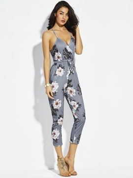 Slim Flower Print Backless Ankle Length Women's Jumpsuit