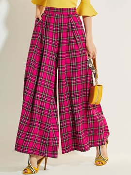 High-Waist Loose Plaid Casual Pants