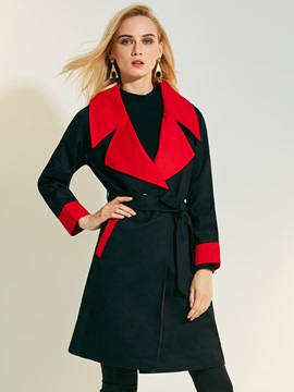 Lapel Double-Breasted Lace-Up Trench Coat