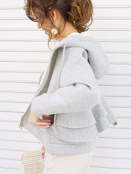 Plain Zipper Regular Hooded Spring Women's Hoodie
