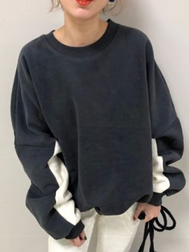 Color Block Patchwork Round Neck Spring Women's Hoodie