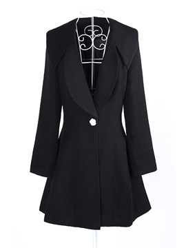 Chic Solid Color Lapel Long Sleeve Overcoat