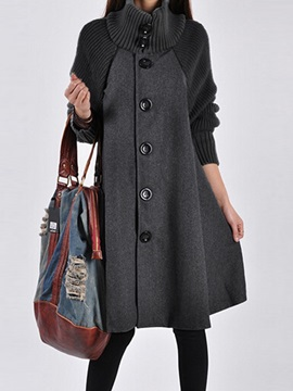 Solid Color Long Sleeve Woolen Overcoat