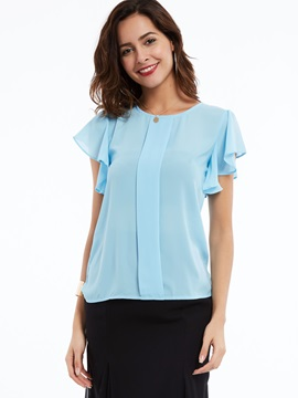 Chiffon Back with Button Ruffle Blouse