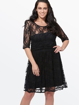Lace Half-Sleeve Contrast Plus Size Dress
