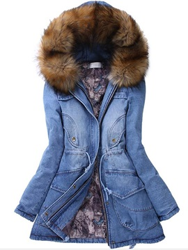 Splendid Warm Hooded Denim Overcoat