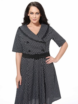 Vintage Polka Dots V Neck Skater Dress
