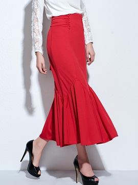 Solid Empire Waist Mermaid Skirt
