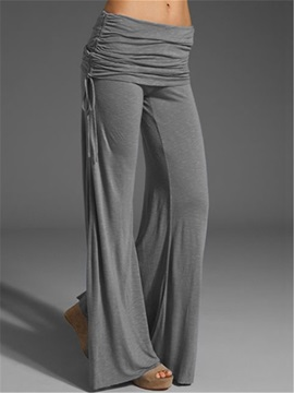 Simple Side-Tie Loose-Fit Pants