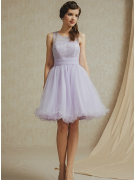 Simple A-Line Jewel Short Bridesmaid Dress