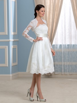 Strapless Knee-Length Appliques Wedding Dress with Long Sleeve Jacket