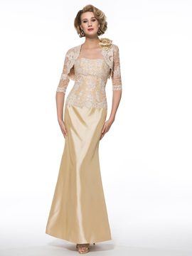 Strapless Trumpet Lace Mother of the Bride Dress with Half Sleeve Jacket