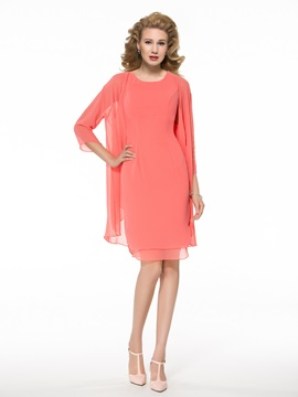 Casual Scoop Knee-Length Mother of the Bride Dress with Jacket/Shawl