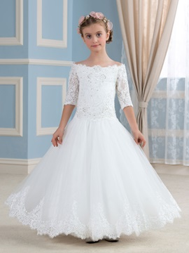 Scalloped Off The Shoulder Half Sleeve Appliques Sequins Flower Girl Dress