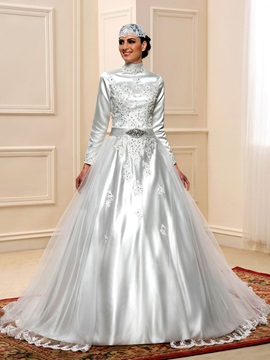 Modest Beaded High Neck Long Sleeve Muslim Plus Size Wedding Dress