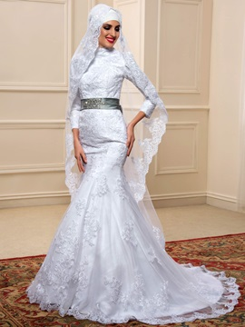High Neck Long Sleeve Lace Mermaid Muslim Wedding Dress