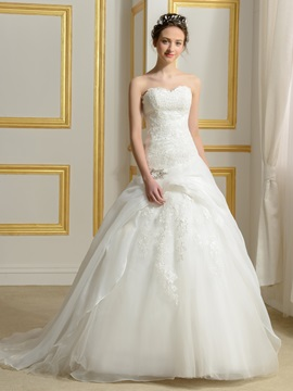Lace Sweetheart Ruffles Tulle Princess Wedding Dress