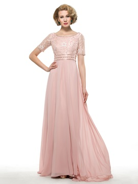 Scoop Neck Short Sleeve Beaded Chiffon Mother of the Bride Dress