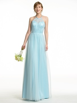 Floor Length A-Line Pleated Halter Tulle Overlay Bridesmaid Dress
