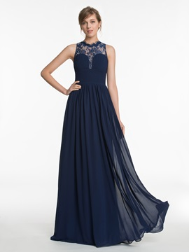 Jewel Lace A Line Long Bridesmaid Dress