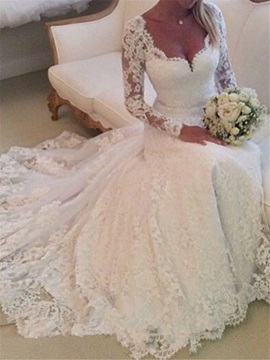 Long Sleeves Button Long Sleeves Wedding Dress
