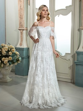 Charming A Line Spaghetti Straps Short Sleeves Lace Wedding Dress