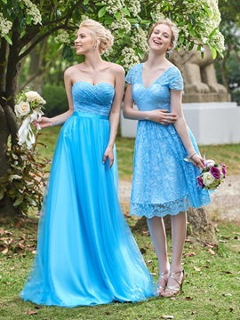 Fancy A-Line Sweetheart Lace Top Long Bridesmaid Dress