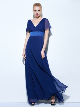 V-Neck Short Sleeves Pleats A-Line Long Evening Dress