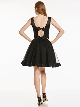 Simple Straps Bowknot A-Line Short Homecoming Dress