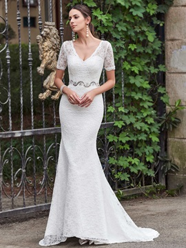High Quality V Neck Short Sleeves Mermaid Lace Wedding Dress