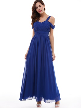 Fancy A-Line Straps Pleated Chiffon Evening Dress