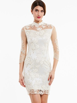 Nice High Neck Zipper-Up Appliques Lace Evening Dress
