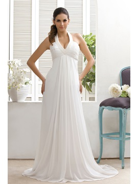 Plain Empire Waist Court Train Halter Top Taline's Wedding Dress