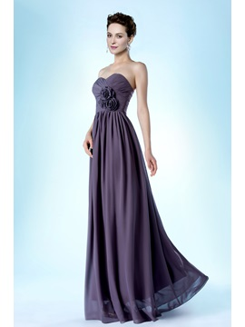 Elegant A-line Flowers Strapless Long Evening Dress