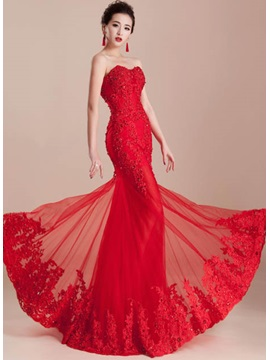 Hot Selling Amazing Mermaid Sweetheart Appliques Beading Lace-up Long Evening Dress