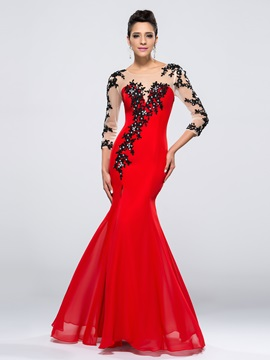 Enchanting Mermaid 3/4-Length Sleeves Appliques Split-Front Long Evening Dress