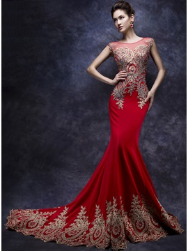 Mermaid Tulle Neck Appliques Beading Evening Dress
