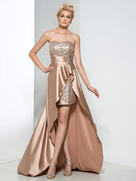 Modern Sweetheart Beading Sequin High Low Prom Dress