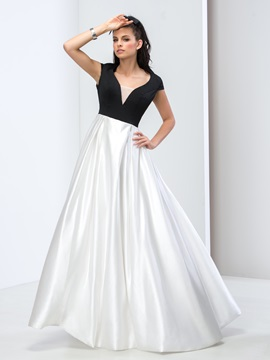 Simple V-Neck Cap Sleeves Backless A-Line Prom Dress