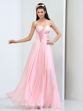 Pretty Sweetheart A-Line Beaded Crystal Long Pink Prom Dress