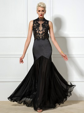 Sexy High Neck Appliques Backless Long Trumpet Evening Dress